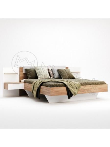 """Кровать """"Асти 1,60"""" (мягкая спинка с тумбами) Миромарк"""