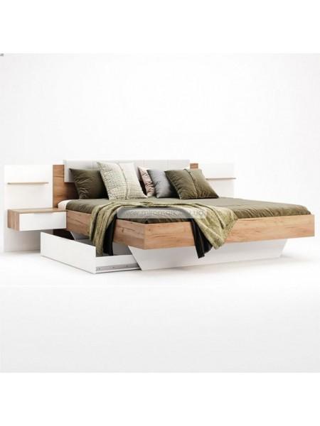 """Кровать """"Асти 1,60"""" с ящиком (мягкая спинка с тумбами) Миромарк"""