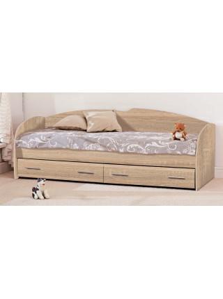 Кровать односпальная К-117 с ламелями и ящиками