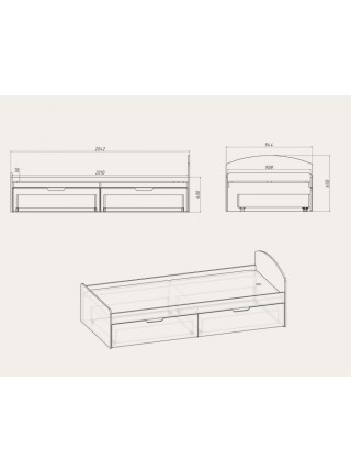 Кровать «Кровать - 90 + 2»
