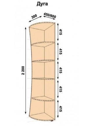 Консоль кривая 300Х450Х2200(2100)